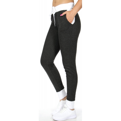 wholesale K34 Quilted two tone jogger pants White