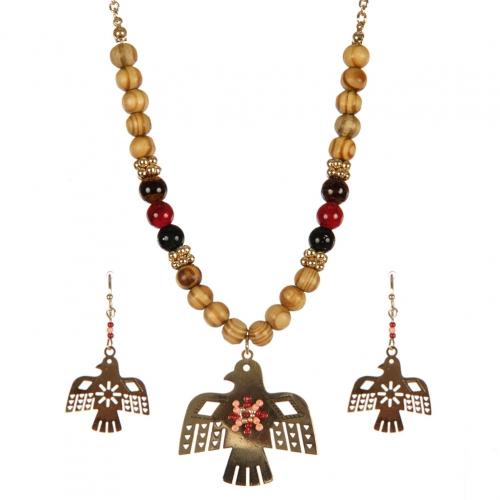 Wholesale Thunderbird pendant on wooden beads necklace set