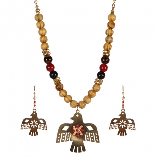 Wholesale Thunderbird pendant on wooden beads necklace set