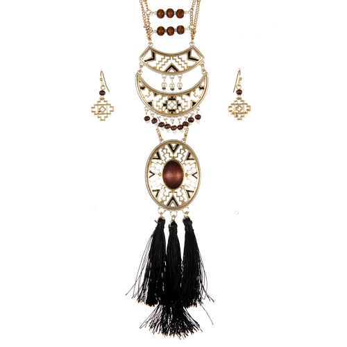 Wholesale M08D Tribal beads with tassels necklace set WTTB