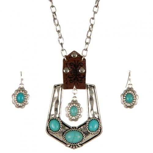 Wholesale M06A TQ stone buckle necklace set ASTQ