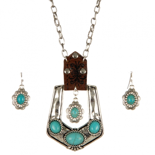 Wholesale M06A TQ stone buckle necklace set ASTQ