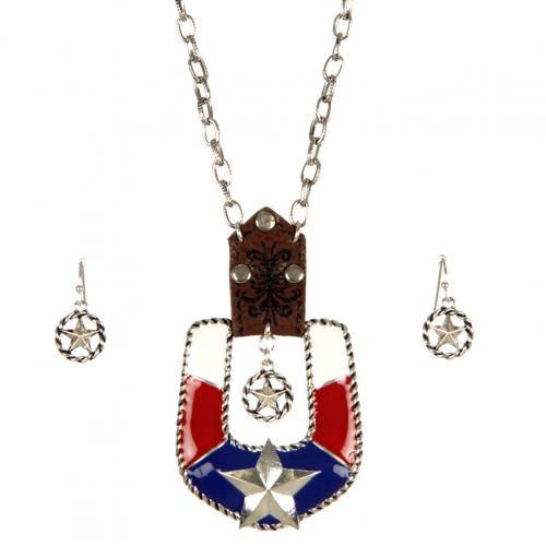 Wholesale M10B Confederate buckle necklace set ASMX