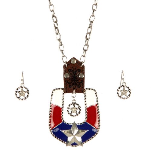 Wholesale M10B Confederate buckle necklace set ASMX