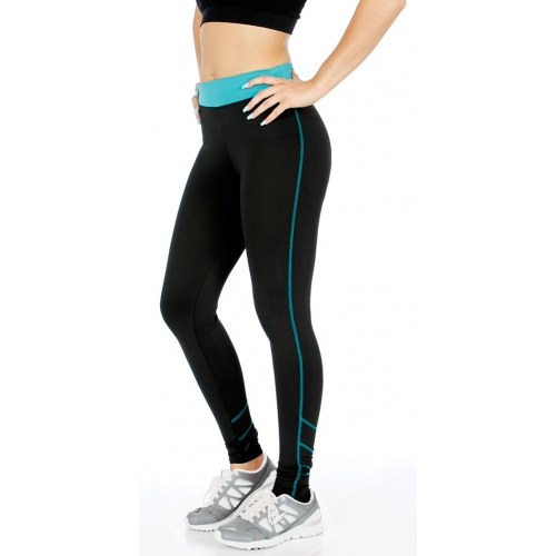 wholesale K56 Neon accent striped active pants Black