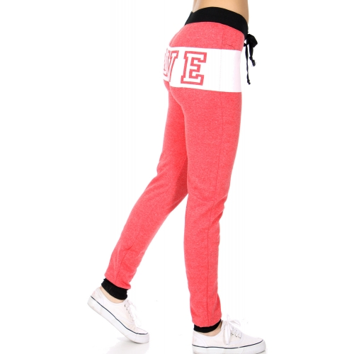 wholesale Two tone LOVE jogger pants H.Red fashionunic
