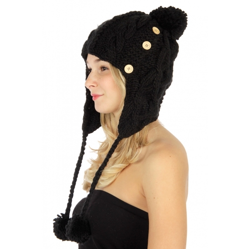 wholesale Hand made cable knit trapper hat BK fashionunic