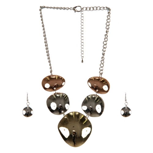 wholesale Metal circles necklace set TRI fashionunic