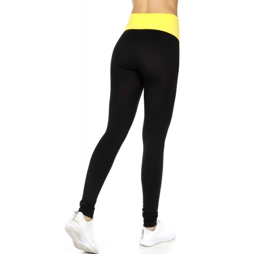 Wholesale E15 Tummy control fold over space dye leggings Yellow