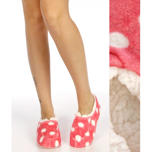 Wholesale WA00 Polka dot plush fleece moccasin slippers Pink