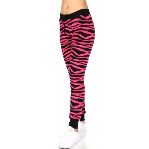 Wholesale K14 Zebra print ladies plush fur jogger pants Pink