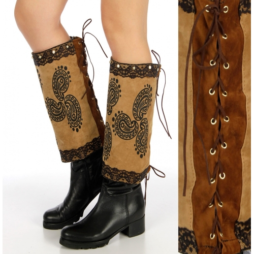 Wholesale Q25 Paisley branded faux leather boot covers