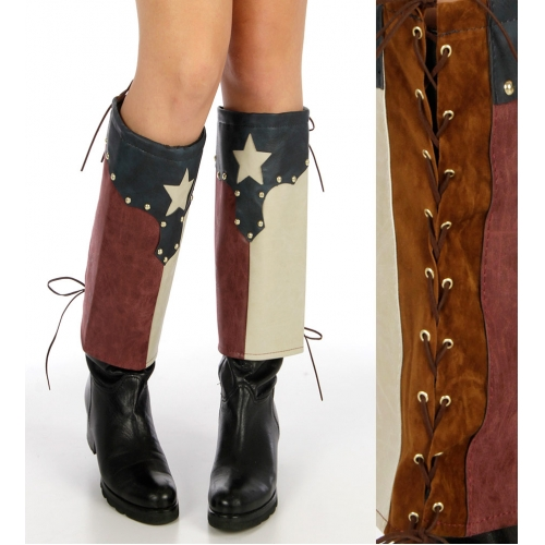 Wholesale Q25 Southern patriotic faux leather boot covers