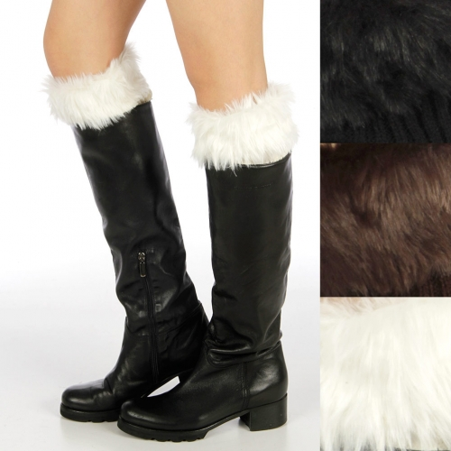 wholesale Rib knit w/ faux fur cuff leg warmers Dozen