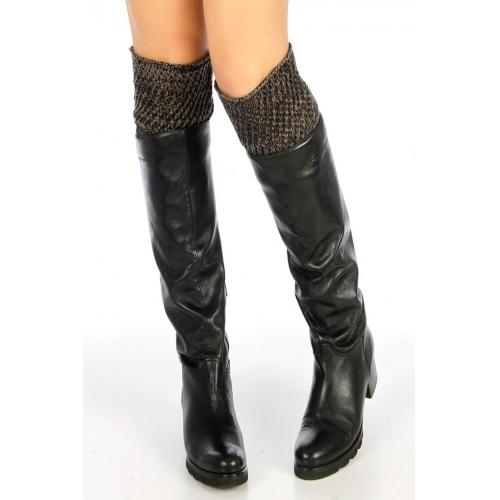 wholesale Two tone open stitch boot topper Black