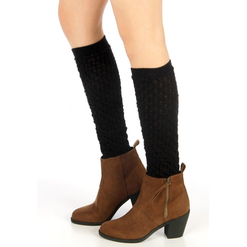 Wholesale BX00 Two tone textured rcotton boot toppers Black