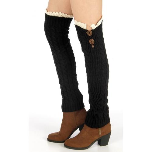 Wholesale BX00 Buttoned lace top knit legwarmers Black