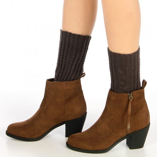 Wholesale BX00 Solid cable knit boot toppers Grey
