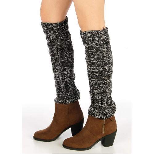 Wholesale BX00 Tow tone marled cable knit leg warmers Black