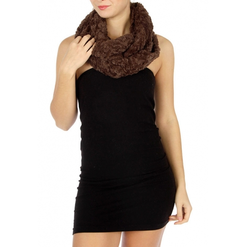 Wholesale T70 Faux fur fluffy infinity scarf Brown