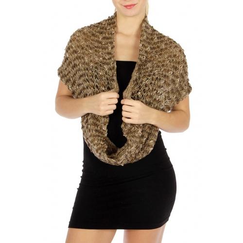 Wholesale T09 Textured infinity scarf Tan fashionunic