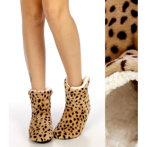 wholesale Plush sherpa bootie Beige/Brown fashiounic
