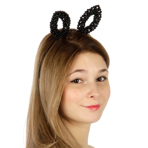 Wholesale Faux pearl bunny ears headband BK fashionunic