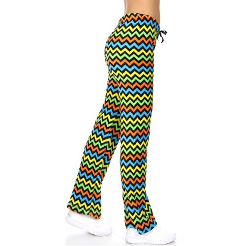 wholesale Multicolored chevron plush pants Black