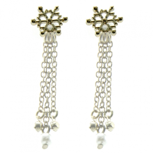 wholesale Snowflake studs with chain drop back G