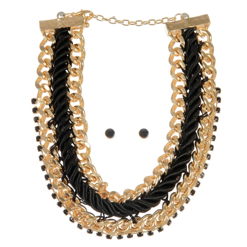 Wholesale Chains and stones fabric necklace set GDBK