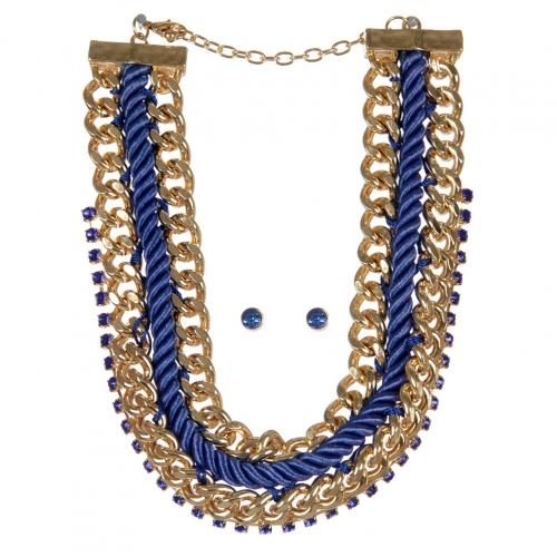 Wholesale Chains and stones fabric necklace set GDBLSAP
