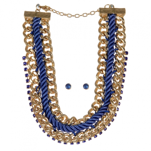 Wholesale Chains and stones fabric necklace set GDBLSAP
