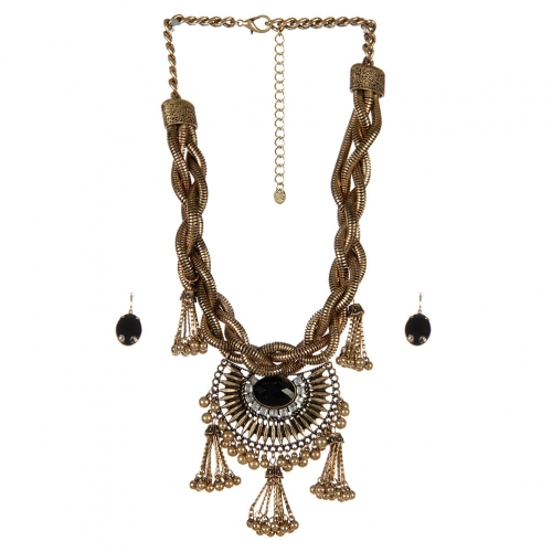 Wholesale Vintage look stone accent necklace set RGBKCL