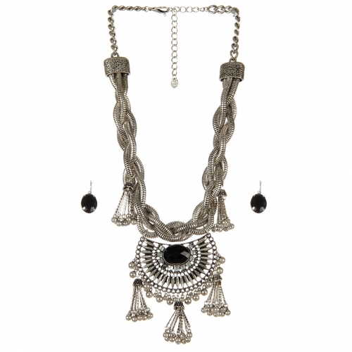 Wholesale Vintage look stone accent necklace set SBBKCL