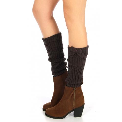 wholesale Ribbed leg warmer with bow Grey fashionunic