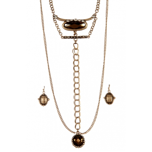 wholesale Layered chains and stones long necklace set GBBR