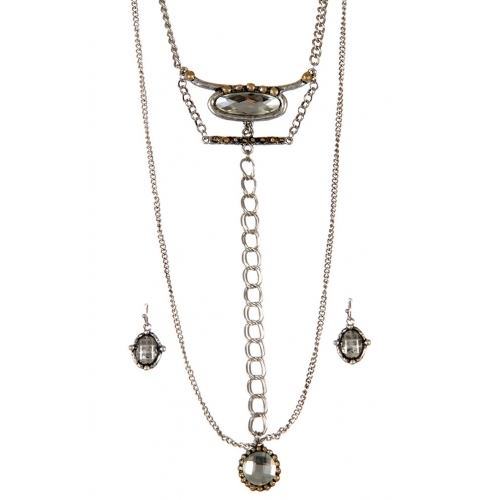 wholesale Layered chains and stones long necklace set SBCR