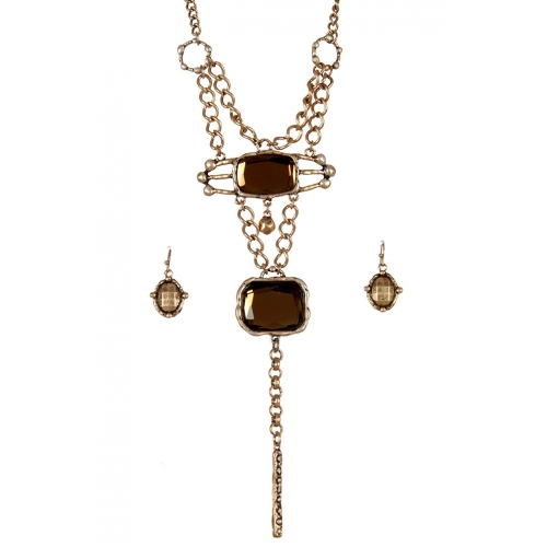 wholesale Layered stones drop long necklace set GBBR