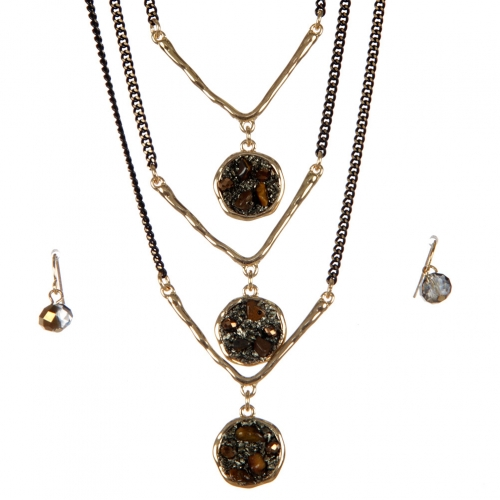 wholesale Layered stone long necklace set GBR