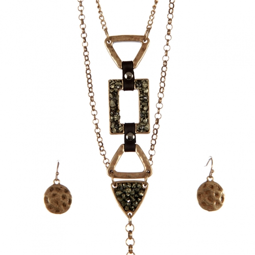 wholesale Metal and stone long necklace set GB