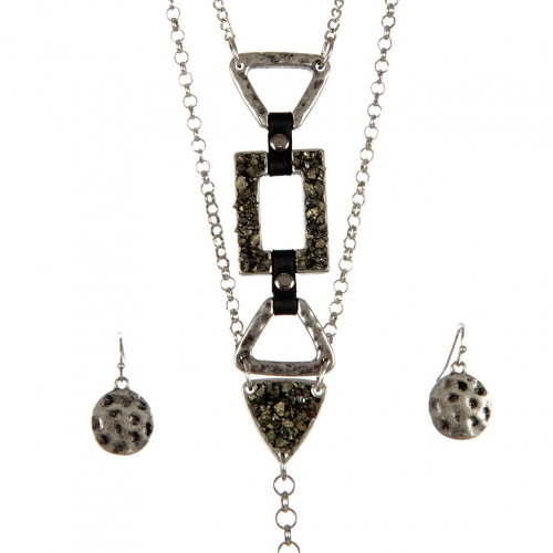 wholesale Metal and stone long necklace set SB