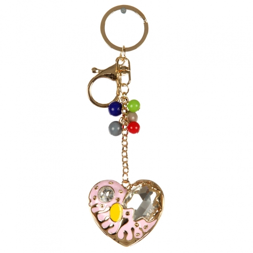 wholesale Beads and stone heart keychain