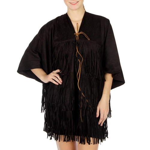 wholesale Fringed faux suede cape Black fashionunic