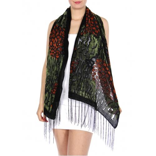 wholesale Velvet leopard pattern scarf Brown