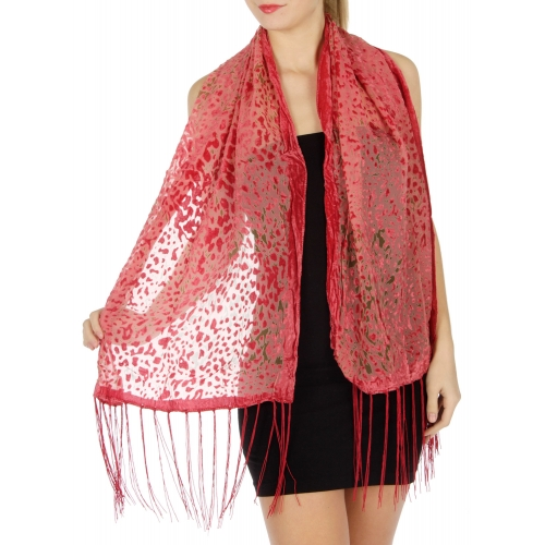 wholesale Velvet border and abtract scarf Black
