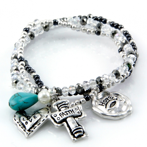 wholesale Faith theme stackable stretch bracelet STT