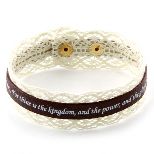 wholesale Lord's prayer on faux leather bracelet GB