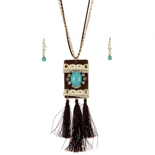wholesale Long tasseled TQ accent necklace set WTTB