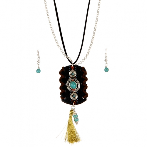 wholesale Tassel and faux suede long necklace set WSJ