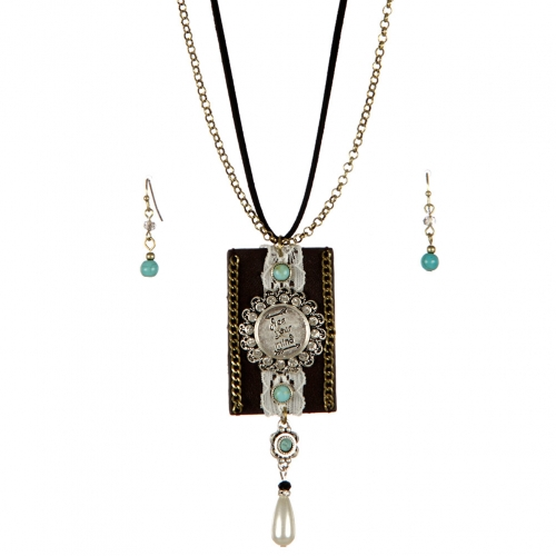 wholesale Faux pearl drop and suede long necklace set TTB